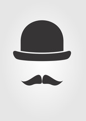 Barber shop icon. Mustache and bowler. Vector illustration