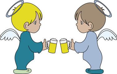 Engel am anstossen mit Bier