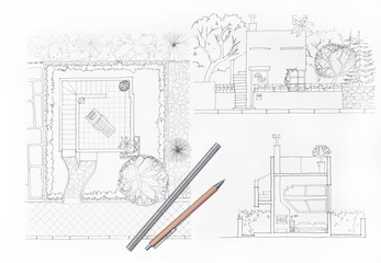 Home and garden, architects drawing