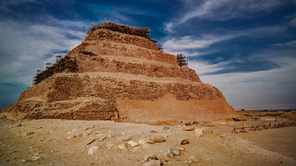Exterior view to step pyramid of Zoser, Saqqara, Egypt