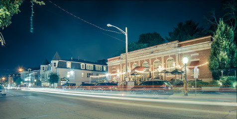 night long exposure in town of east greenwich street