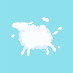 Cute cartoon sheep in form of white fluffy cloud. Silhouette of domestic animal. Flat vector design for greeting card, kids book cover or print