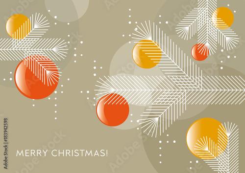 Weihnachtsbaum mit Kugeln, Grafik, Weihnachtsgruß, geometrische ...
