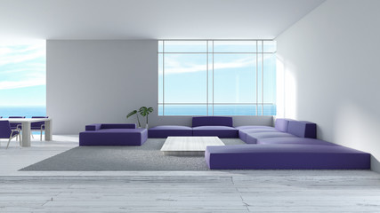 Modern interior living room wood floor sofa set sea view summer 3d rendering. minimal living room design purple sofa set pantone 2018