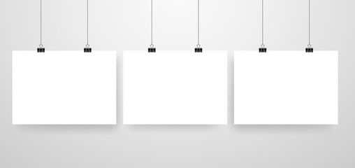 Mock-Up Realistic White Poster Hanging. Empty White Vector Poster Template.