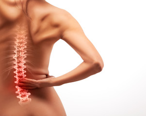 Woman back pain.
