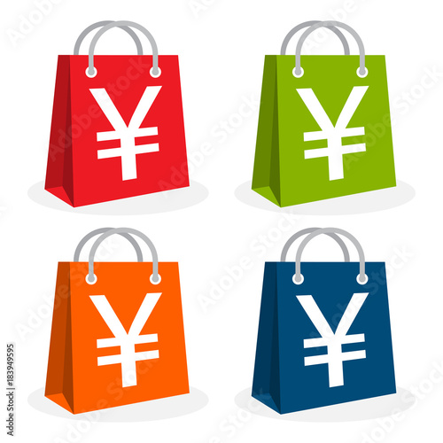Icon Logo For Shopping Business Illustrated In Bag Icon And Yen