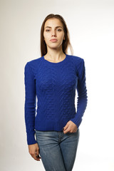 girl in blue sweater