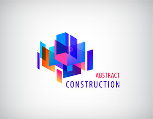 Vector abstract 3d construction, architecture structure, geometric