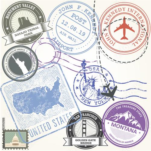 United States Travel Stamps Set Usa Journey Symbols Stock Image