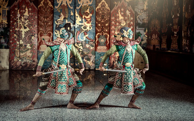 Thailand. Khon performance art of Ramayana story giants green body. Character in ramakien the best story of Thai and Asia.