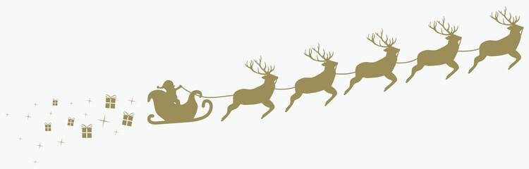Weihnachtsmann mit Schlitten und Rentieren, goldig