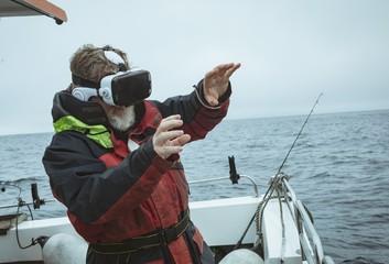 Fisherman using virtual reality headset