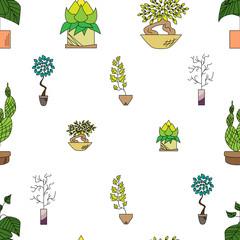 Seamless texture of houseplants