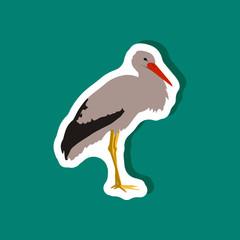 stork paper sticker on stylish background