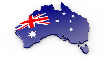 Australien - Umriss oder 3D Karte