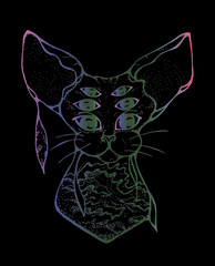 Illustration of a psychedelic cat with three pairs of eyes. The colorful cat is decorated with sea waves in Japanese style on a black background