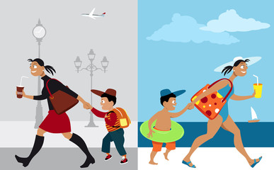 Mother bringing her son to school vs going on vacation, EPS 8 vector illustration