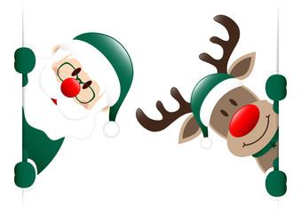 Dark Green Rudolph & Santa Diagonal Banner