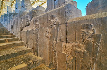 Walk along historic stairs in Persepolis, Iran