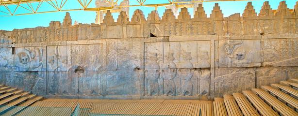 Panorama of East Stairs of Apadana palace, Persepolis, Iran