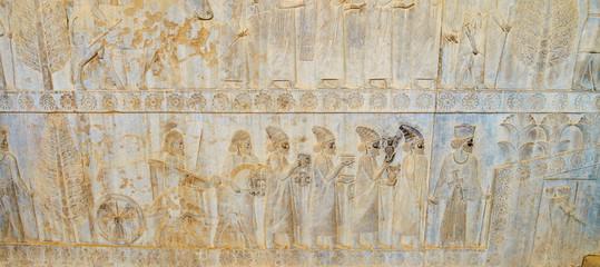 Panorama of ancient reliefs in Persepolis, Iran