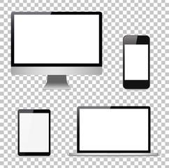 Set computer, laptop, tablet, phone . Vector illustration
