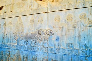 Reliefs of Apadana Stairway, Persepolis, Iran