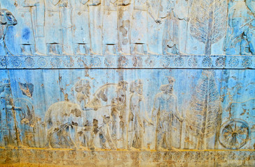 Cappadocian bearers on relief in Persepolis, Iran