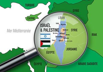Israël - Palestine - carte - Moyen Orient - conflit - israélien - palestinien - Moyen-Orient - guerre