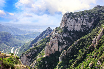 The Mountain of Montserrat (Catalonia, Spain). Montserrat mountains and Benedictine monastery of Santa Maria de Montserrat.