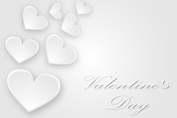 White hearts flying greeting card with Valentine's Day