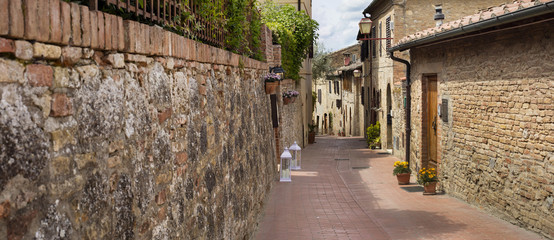 panorama of street in Tuscany city in Italy