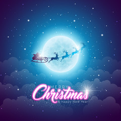 Merry Christmas Illustration with Flying Santa in the Moon on Blue Night Sky Background. Vector Design for Greeting Card, Party Invitation Poster or Promo Banner with Happy New Year Label.