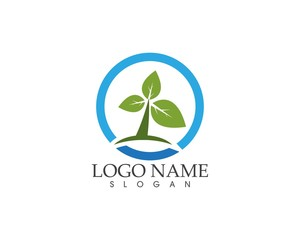 Nature tree logo design template