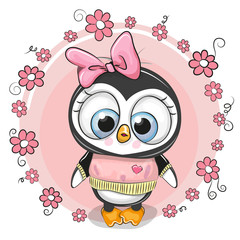 Greeting card penguinl with flowers