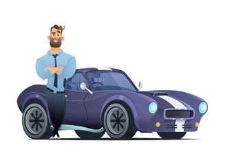Successful man standing in front of a sports car. Seller or owner of a automobile. VCartoon style vector illutration.