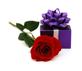 purple gift box with gift ribbon and rose flower isolated on white