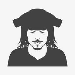 Pirate character monochrome icon. Vector illustration.
