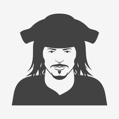 Pirate character monochrome icon. Vector illustration.