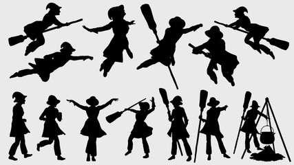 Silhouette di varie pose della Befana