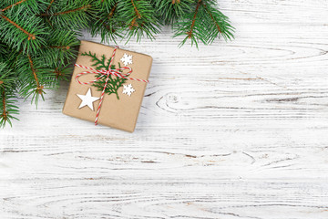 Christmas card with decor and branch, space for text