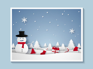 Merry Christmas and Happy New Year , Snowman with ornaments in frame , picture of xmas , paper art style