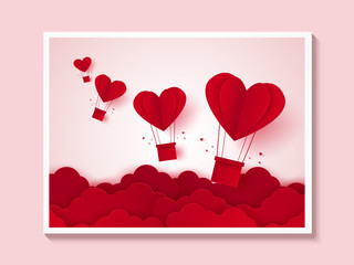Valentines day , Illustration of love , Picture of red heart hot air balloons flying on sky , paper art style