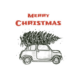 Merry Christmas vintage postcard style. Hand drawing a car with a Christmas tree vector illustration