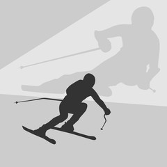 on a background of abstract mountains . a person goes fast on downhill skiing. dark silhouette.