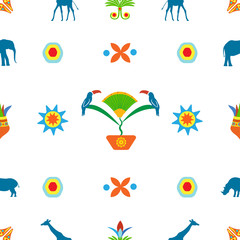 Abstract seamless pattern on a white background in an African style with animals, flowers, birds, plants and ornaments