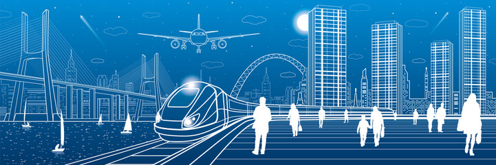 Wall Mural - Infrastructure and transport panorama. Train move on railway. People at station. Airplane fly. Big bridge. Modern night city, towers and skyscrapers. Yachts on water. White lines. Vector design art