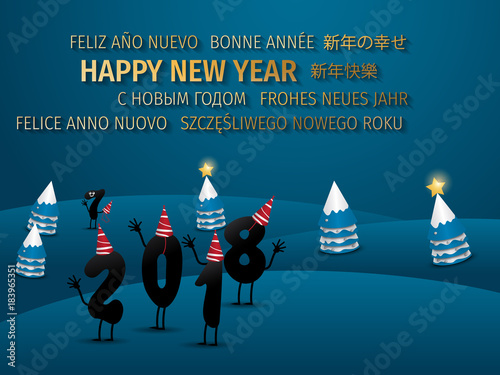 funny 2018 new years and merry christmas eve greeting card happy new year 2018 background