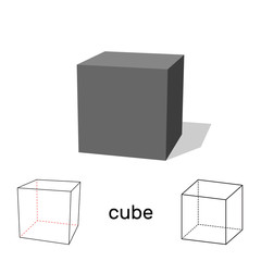 Cube. Geometric shape. Isolated on white background. Vector illustration.